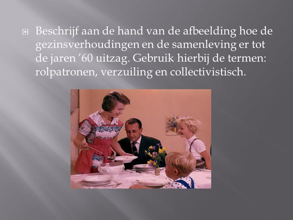  Beschrijf aan de hand van de afbeelding hoe de gezinsverhoudingen en de samenleving er tot de jaren '60 uitzag. Gebruik hierbij de termen: rolpatron