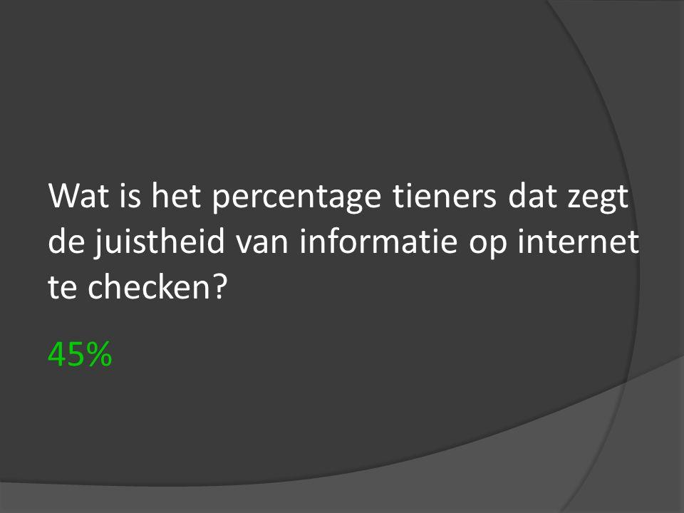 Wat is het percentage tieners dat zegt de juistheid van informatie op internet te checken? 45%