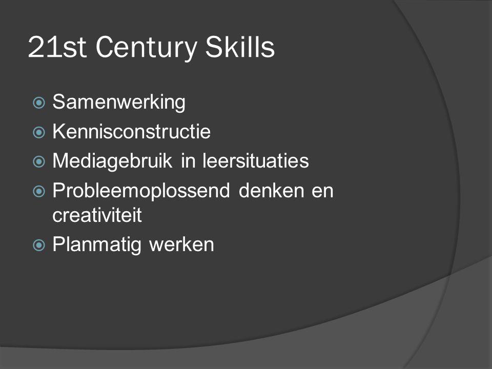 21st Century Skills  Samenwerking  Kennisconstructie  Mediagebruik in leersituaties  Probleemoplossend denken en creativiteit  Planmatig werken