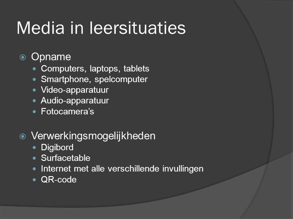 Media in leersituaties  Opname  Computers, laptops, tablets  Smartphone, spelcomputer  Video-apparatuur  Audio-apparatuur  Fotocamera's  Verwer