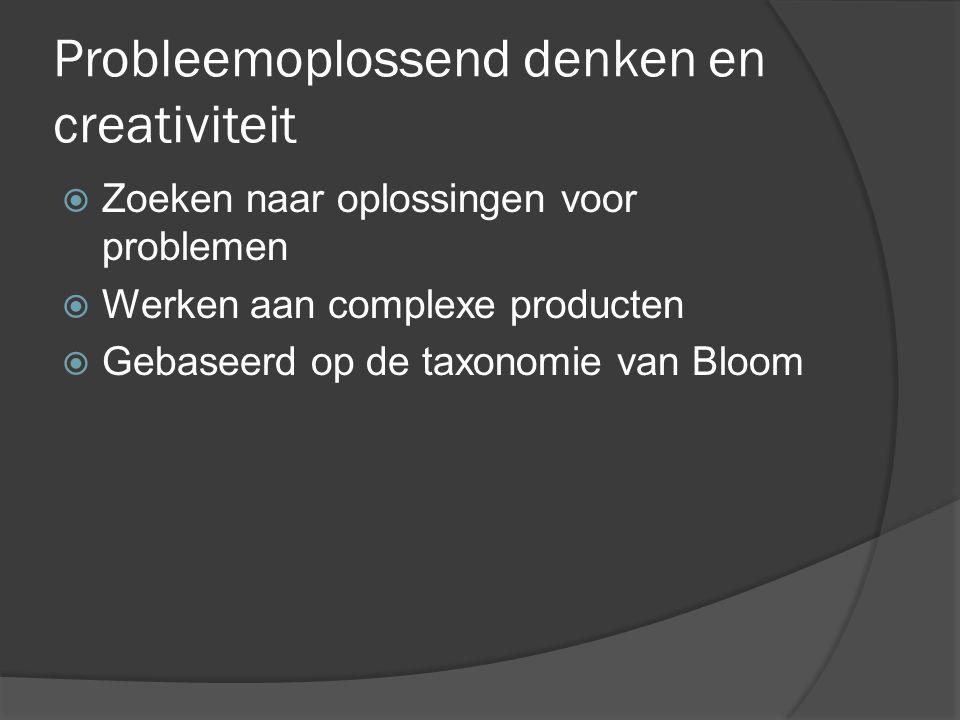 Probleemoplossend denken en creativiteit  Zoeken naar oplossingen voor problemen  Werken aan complexe producten  Gebaseerd op de taxonomie van Bloo