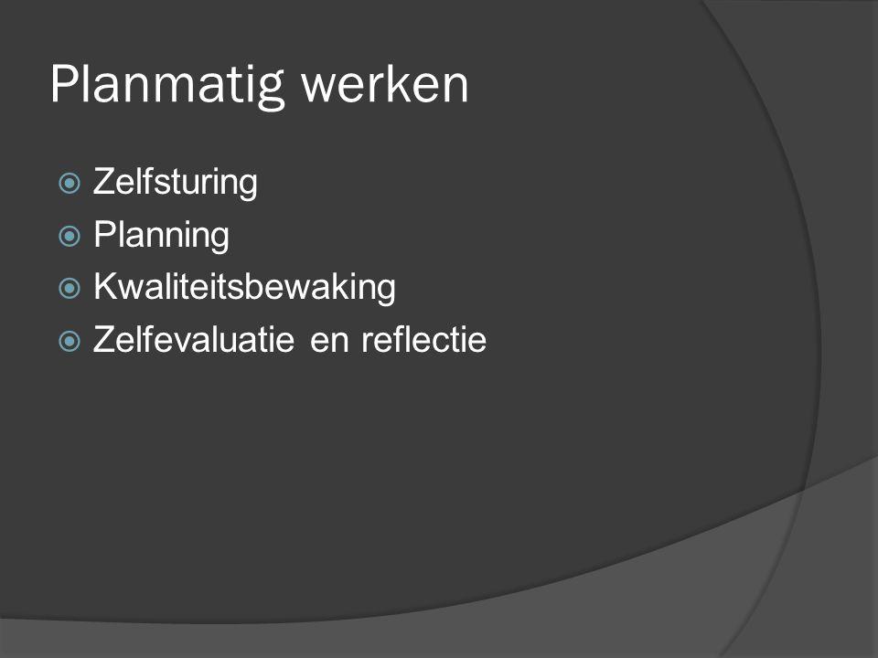 Planmatig werken  Zelfsturing  Planning  Kwaliteitsbewaking  Zelfevaluatie en reflectie