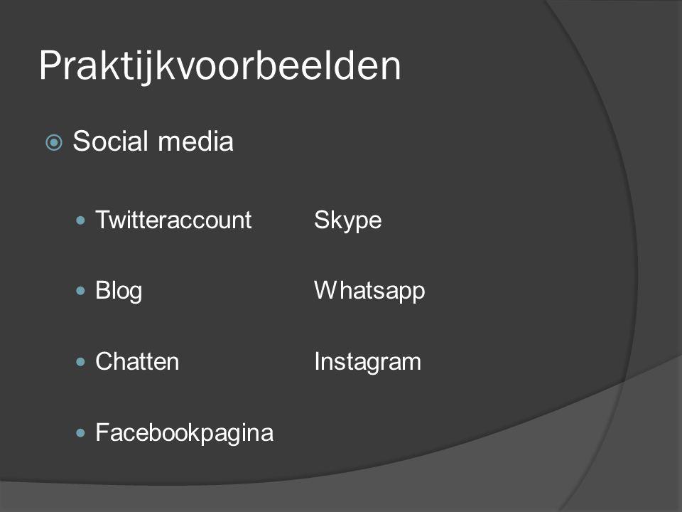 Praktijkvoorbeelden  Social media  TwitteraccountSkype  BlogWhatsapp  ChattenInstagram  Facebookpagina