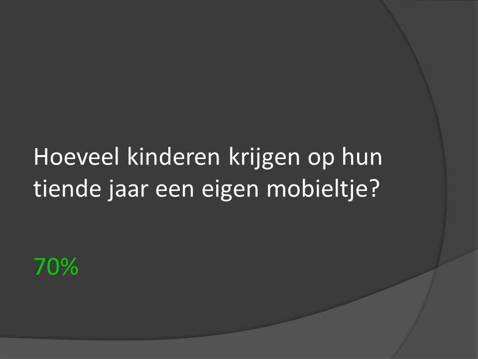 Hoeveel kinderen krijgen op hun tiende jaar een eigen mobieltje? 70%