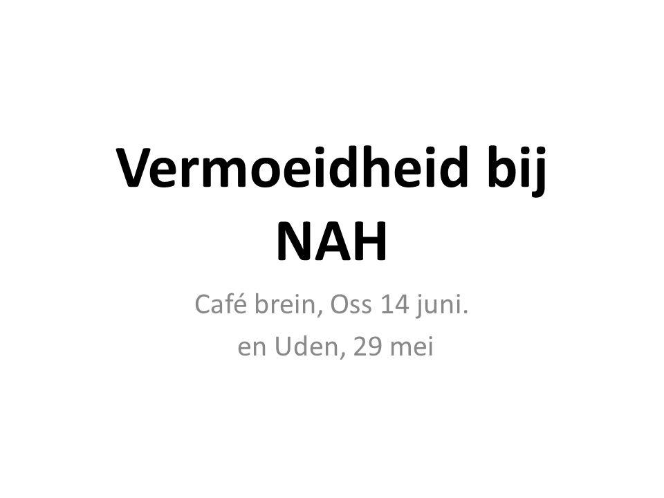Vermoeidheid bij NAH Café brein, Oss 14 juni. en Uden, 29 mei
