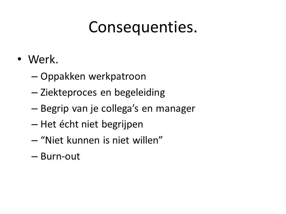 """Consequenties. • Werk. – Oppakken werkpatroon – Ziekteproces en begeleiding – Begrip van je collega's en manager – Het écht niet begrijpen – """"Niet kun"""