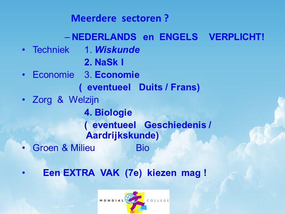 Meerdere sectoren ? –NEDERLANDS en ENGELS VERPLICHT! •Techniek 1. Wiskunde 2. NaSk I •Economie 3. Economie ( eventueel Duits / Frans) •Zorg & Welzijn