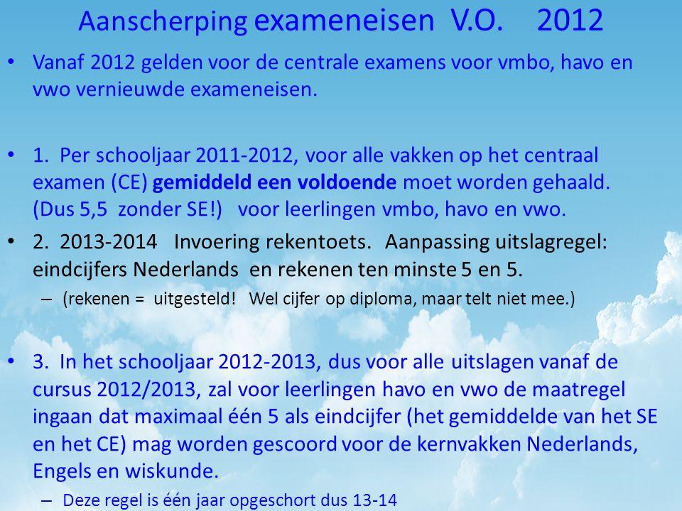 Aanscherping exameneisen V.O. 2012 • Vanaf 2012 gelden voor de centrale examens voor vmbo, havo en vwo vernieuwde exameneisen. • 1. Per schooljaar 201