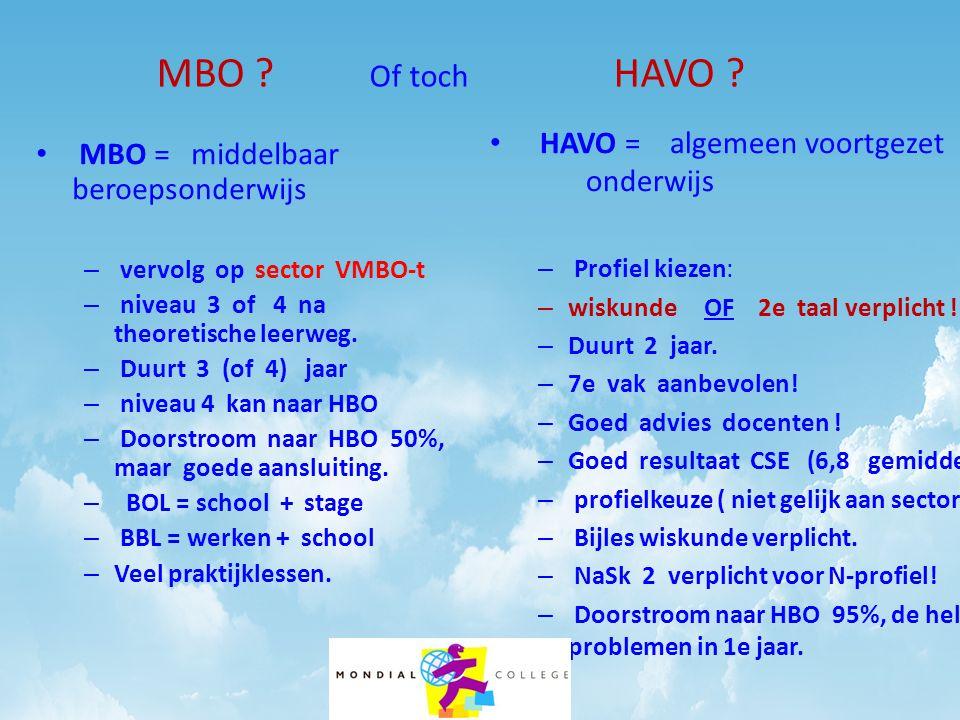 MBO ? Of toch HAVO ? • MBO = middelbaar beroepsonderwijs – vervolg op sector VMBO-t – niveau 3 of 4 na theoretische leerweg. – Duurt 3 (of 4) jaar – n