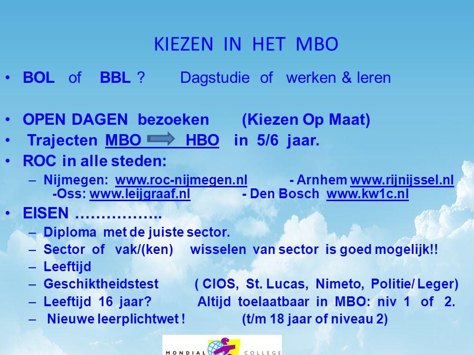 KIEZEN IN HET MBO •BOL of BBL .