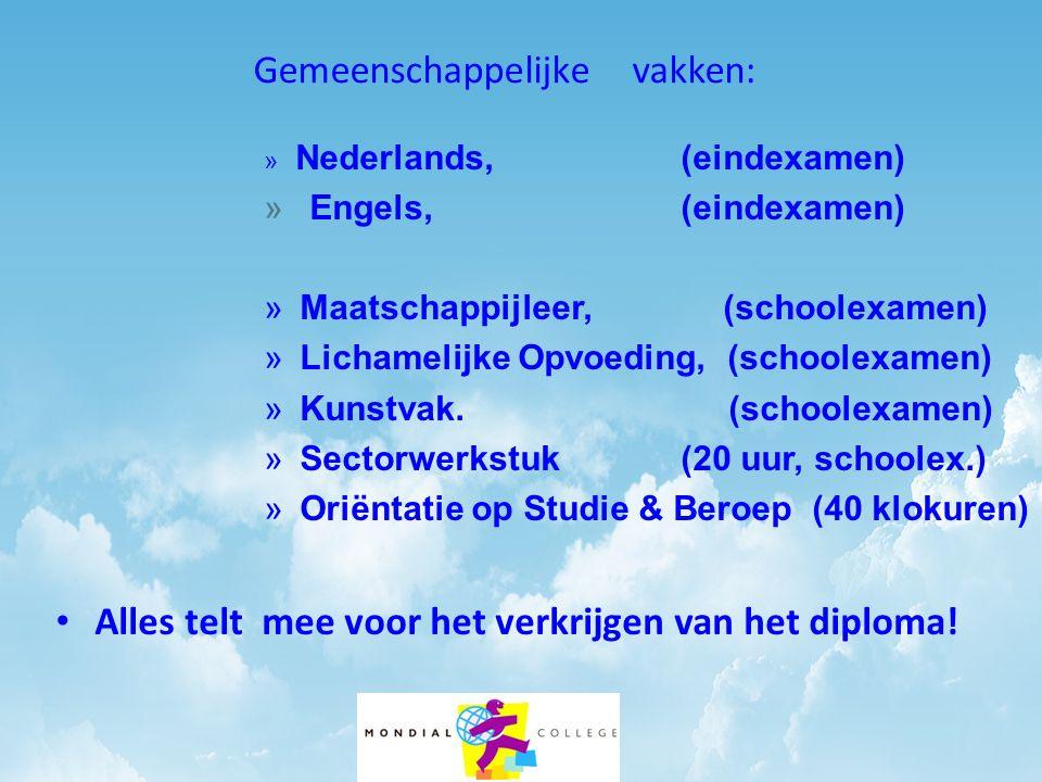 Gemeenschappelijke vakken: » Nederlands, (eindexamen) » Engels, (eindexamen) » Maatschappijleer, (schoolexamen) » Lichamelijke Opvoeding, (schoolexamen) » Kunstvak.