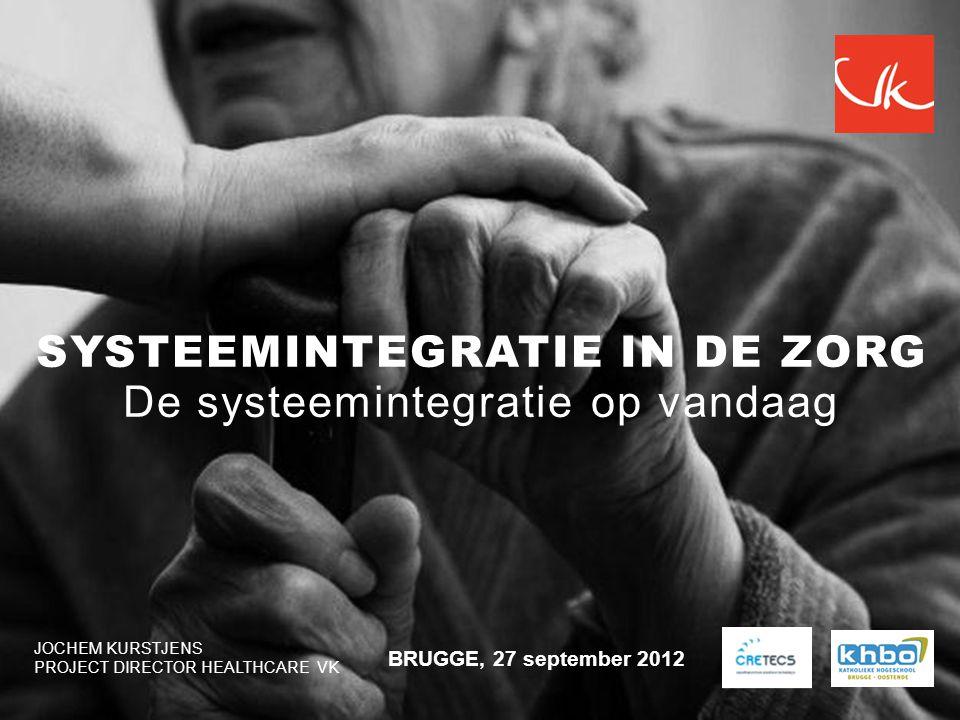 JOCHEM KURSTJENS PROJECT DIRECTOR HEALTHCARE VK BRUGGE, 27 september 2012 SYSTEEMINTEGRATIE IN DE ZORG De systeemintegratie op vandaag