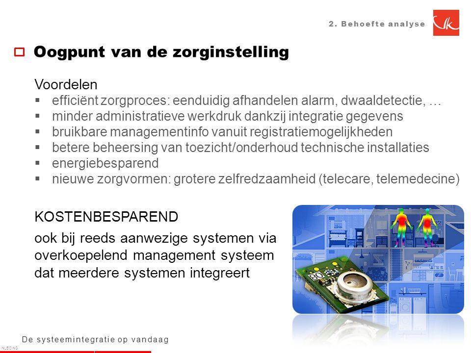 2. Behoefte analyse De systeemintegratie op vandaag Oogpunt van de zorginstelling Voordelen  efficiënt zorgproces: eenduidig afhandelen alarm, dwaald