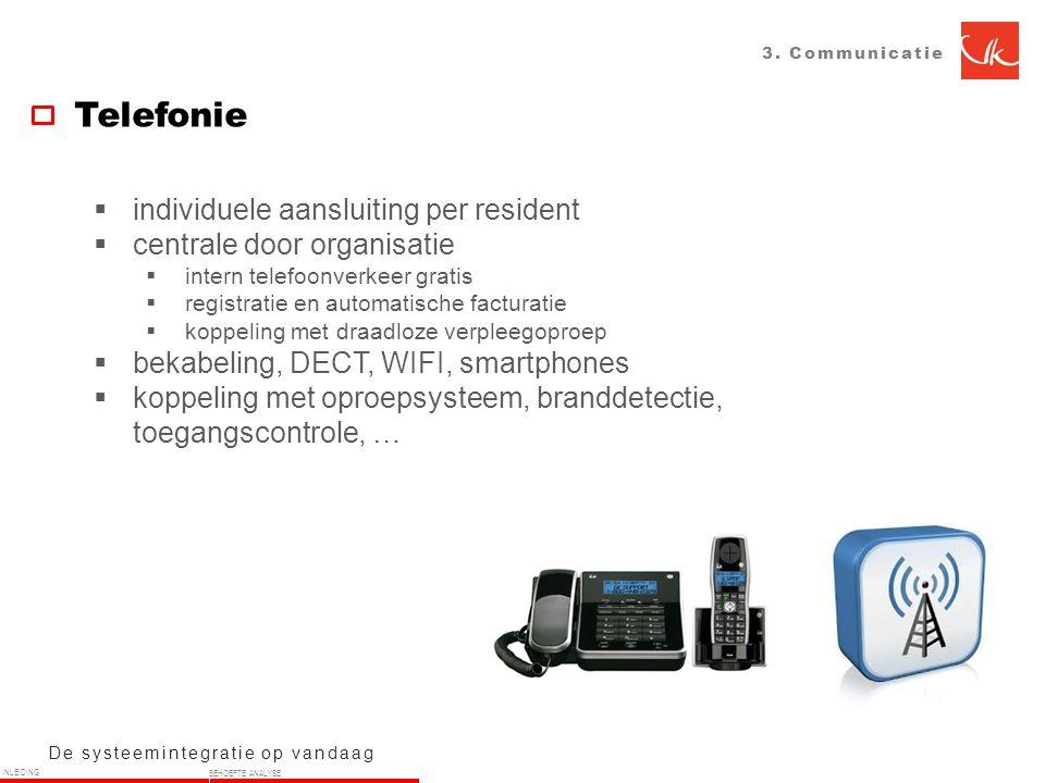 3. Communicatie Telefonie De systeemintegratie op vandaag  individuele aansluiting per resident  centrale door organisatie  intern telefoonverkeer