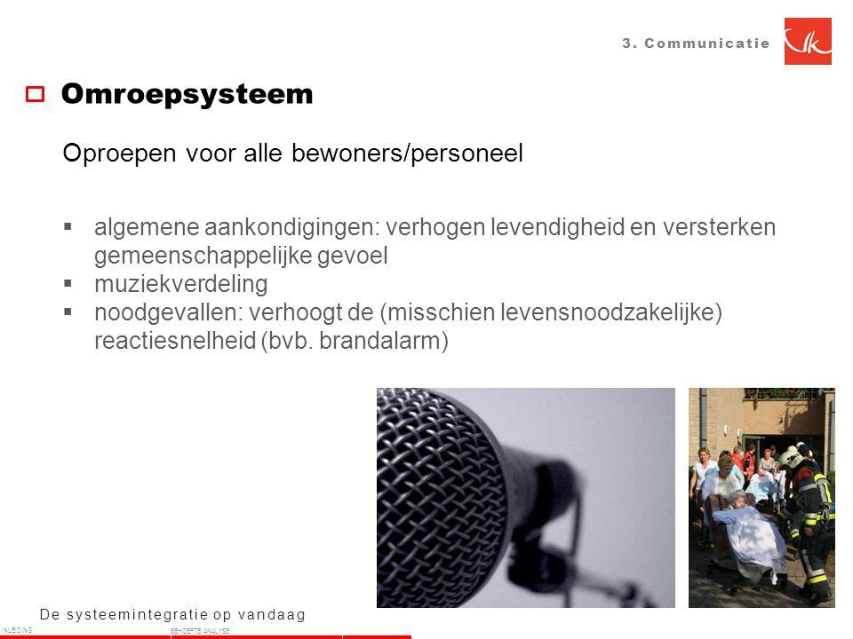 3. Communicatie Omroepsysteem De systeemintegratie op vandaag Oproepen voor alle bewoners/personeel  algemene aankondigingen: verhogen levendigheid e