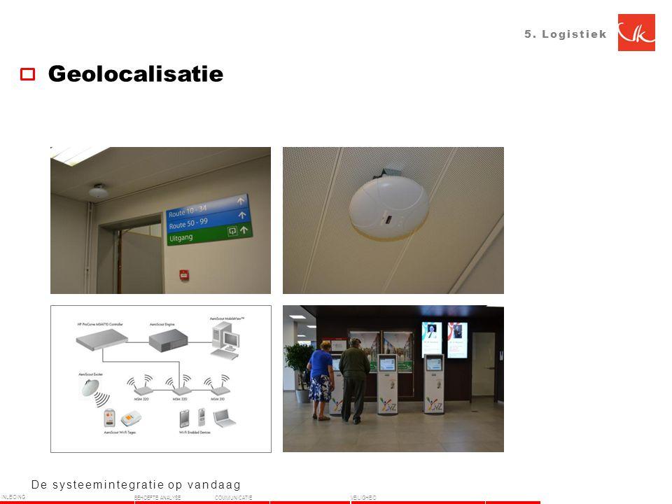 5. Logistiek Geolocalisatie De systeemintegratie op vandaag INLEIDING BEHOEFTE ANALYSECOMMUNICATIEVEILIGHEID