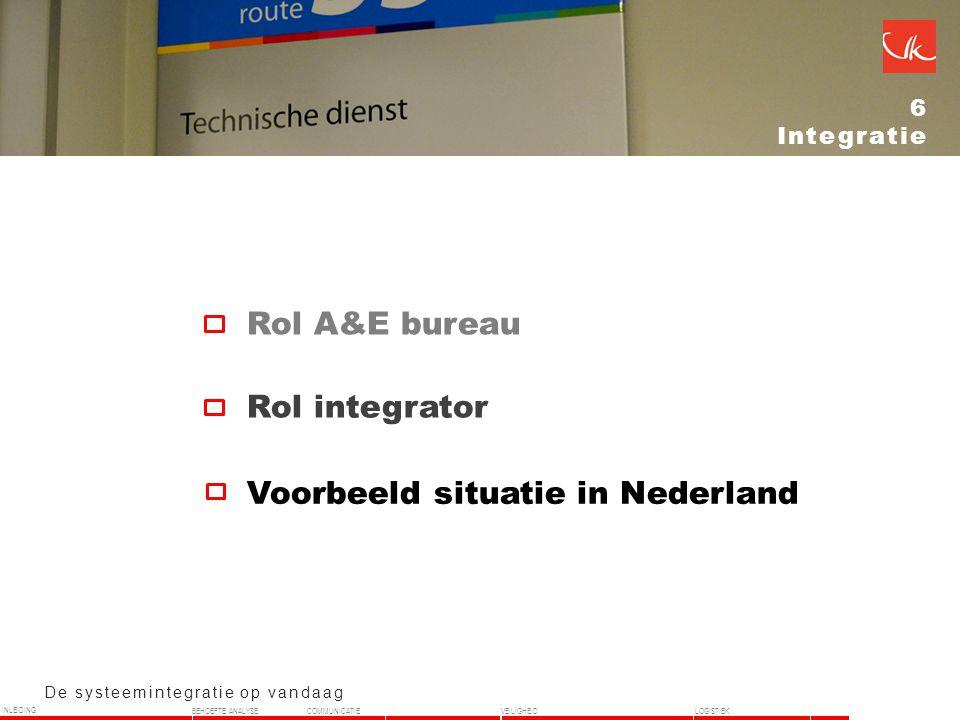 De systeemintegratie op vandaag 6 Integratie Rol integrator Rol A&E bureau Voorbeeld situatie in Nederland INLEIDING BEHOEFTE ANALYSECOMMUNICATIEVEILIGHEIDLOGISTIEK