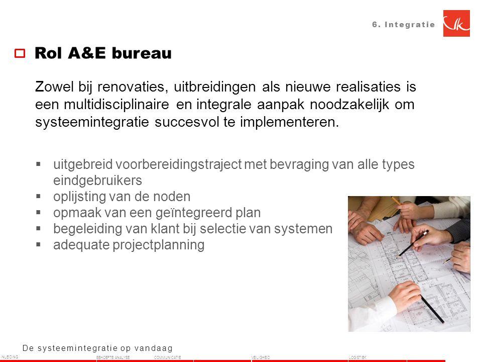 6. Integratie Rol A&E bureau De systeemintegratie op vandaag Zowel bij renovaties, uitbreidingen als nieuwe realisaties is een multidisciplinaire en i