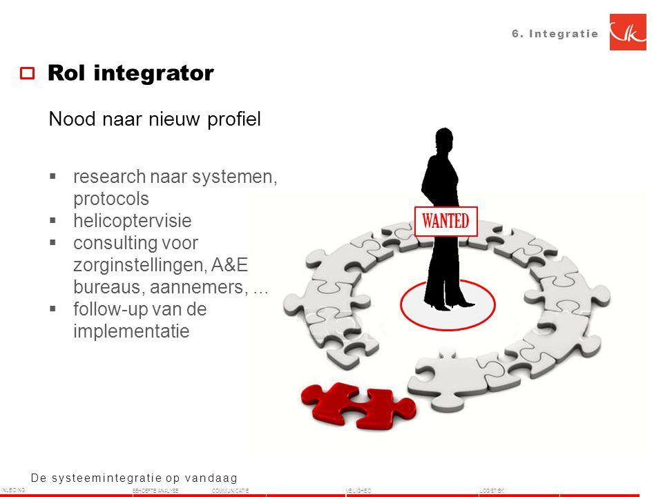 6. Integratie Rol integrator De systeemintegratie op vandaag Nood naar nieuw profiel  research naar systemen, protocols  helicoptervisie  consultin