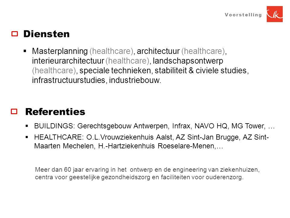 VOORSTELLING  Masterplanning (healthcare), architectuur (healthcare), interieurarchitectuur (healthcare), landschapsontwerp (healthcare), speciale technieken, stabiliteit & civiele studies, infrastructuurstudies, industriebouw.