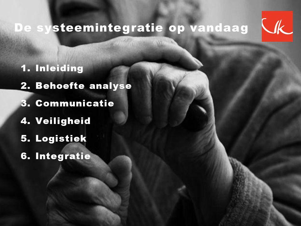 1.Inleiding 2.Behoefte analyse 3.Communicatie 4.Veiligheid 5.Logistiek 6.Integratie De systeemintegratie op vandaag