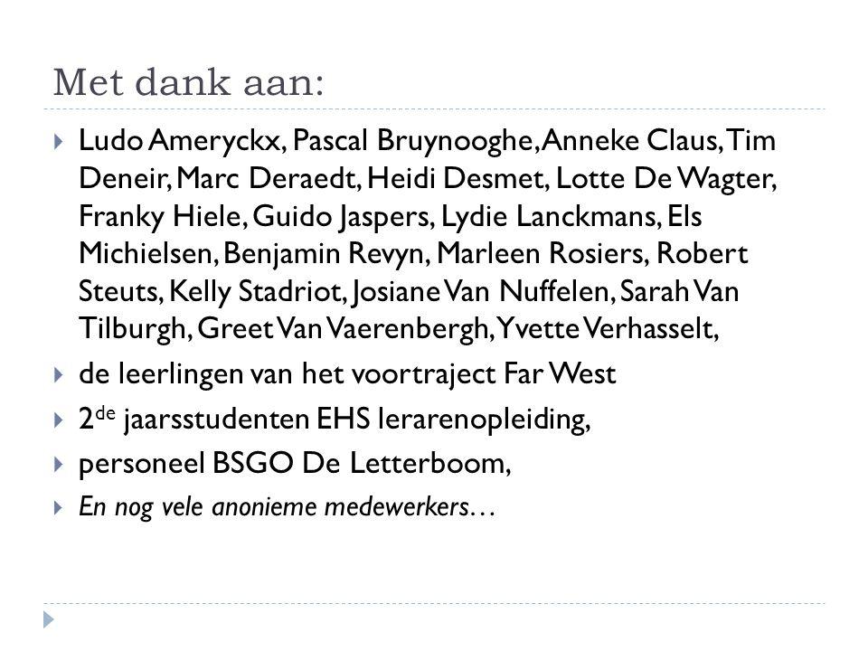 Met dank aan:  Ludo Ameryckx, Pascal Bruynooghe, Anneke Claus, Tim Deneir, Marc Deraedt, Heidi Desmet, Lotte De Wagter, Franky Hiele, Guido Jaspers,
