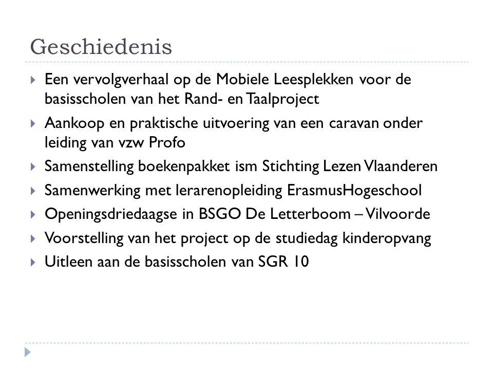 Geschiedenis  Een vervolgverhaal op de Mobiele Leesplekken voor de basisscholen van het Rand- en Taalproject  Aankoop en praktische uitvoering van e
