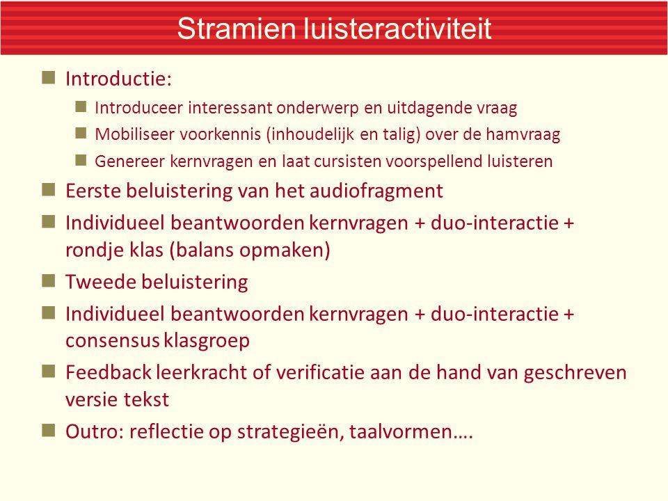 Stramien luisteractiviteit  Introductie:  Introduceer interessant onderwerp en uitdagende vraag  Mobiliseer voorkennis (inhoudelijk en talig) over