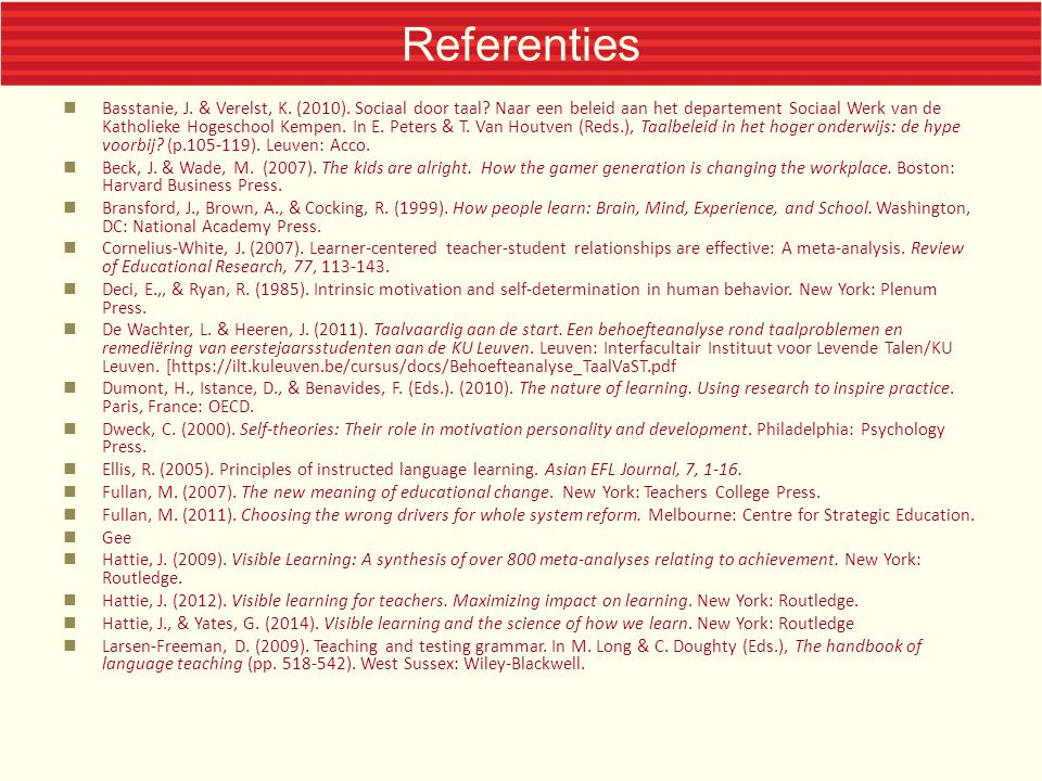 Referenties  Organisation for Economic Co-operation and Development.