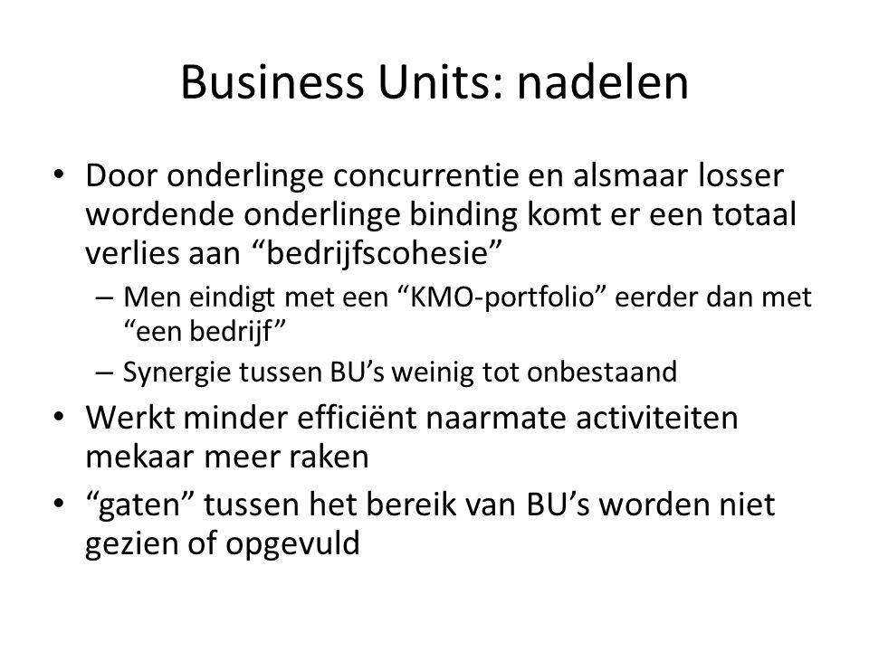 """Business Units: nadelen • Door onderlinge concurrentie en alsmaar losser wordende onderlinge binding komt er een totaal verlies aan """"bedrijfscohesie"""""""