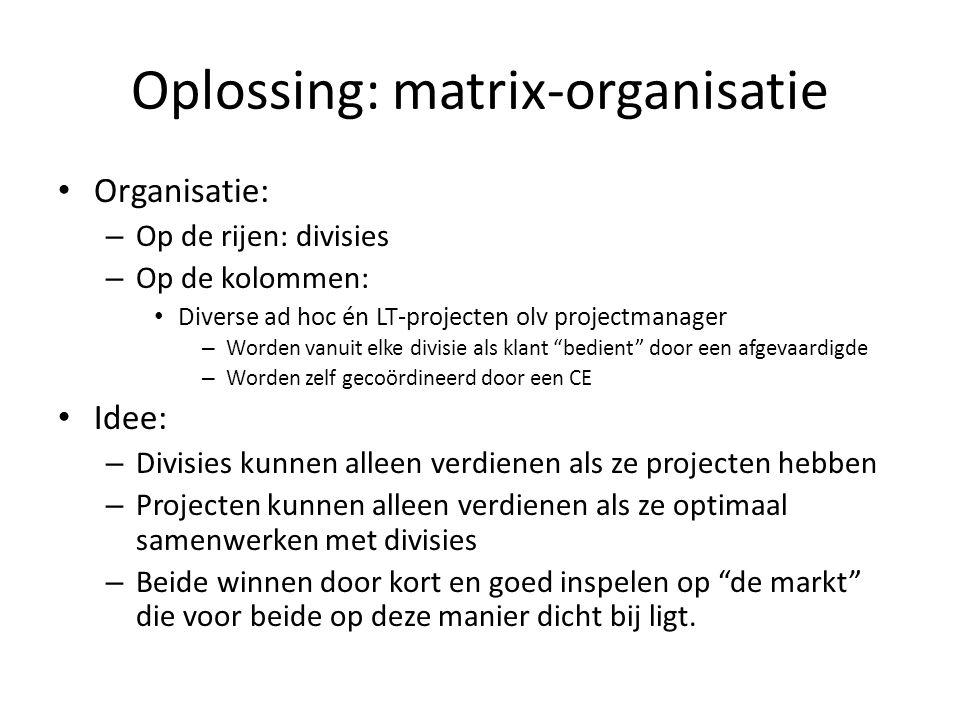 Oplossing: matrix-organisatie • Organisatie: – Op de rijen: divisies – Op de kolommen: • Diverse ad hoc én LT-projecten olv projectmanager – Worden va