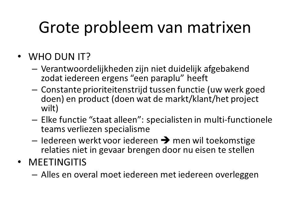 """Grote probleem van matrixen • WHO DUN IT? – Verantwoordelijkheden zijn niet duidelijk afgebakend zodat iedereen ergens """"een paraplu"""" heeft – Constante"""