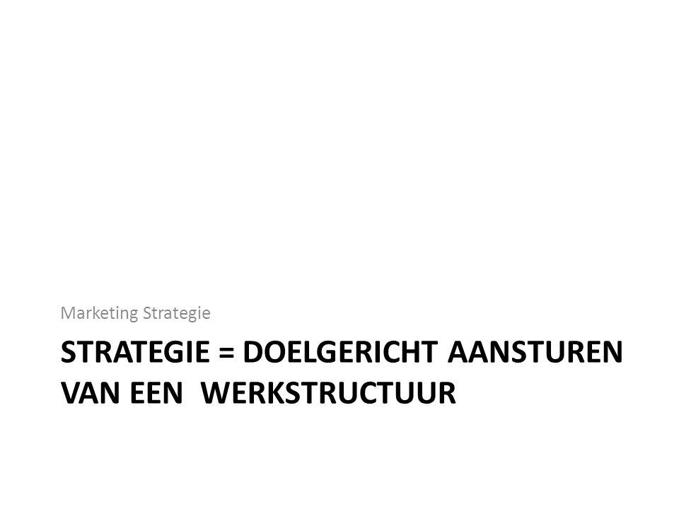 STRATEGIE = DOELGERICHT AANSTUREN VAN EEN WERKSTRUCTUUR Marketing Strategie