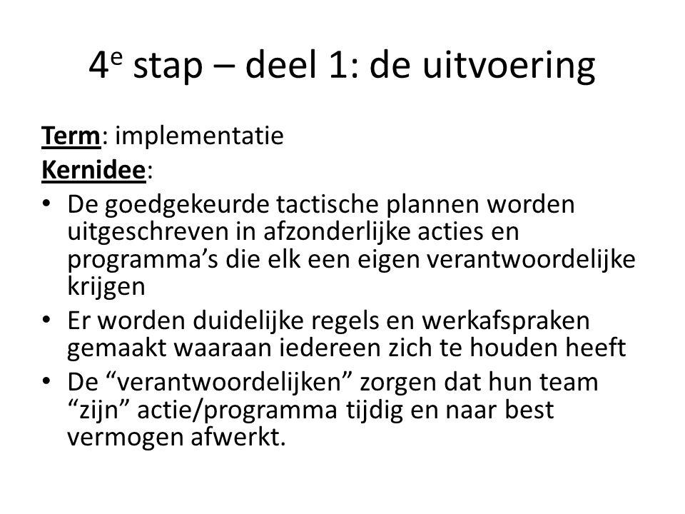 4 e stap – deel 1: de uitvoering Term: implementatie Kernidee: • De goedgekeurde tactische plannen worden uitgeschreven in afzonderlijke acties en pro