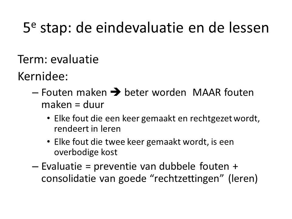 5 e stap: de eindevaluatie en de lessen Term: evaluatie Kernidee: – Fouten maken  beter worden MAAR fouten maken = duur • Elke fout die een keer gema