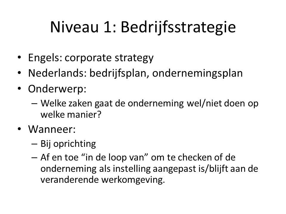 Niveau 1: Bedrijfsstrategie • Engels: corporate strategy • Nederlands: bedrijfsplan, ondernemingsplan • Onderwerp: – Welke zaken gaat de onderneming w