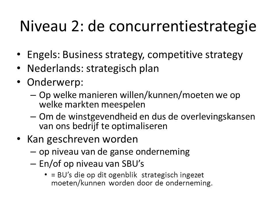 Niveau 2: de concurrentiestrategie • Engels: Business strategy, competitive strategy • Nederlands: strategisch plan • Onderwerp: – Op welke manieren w