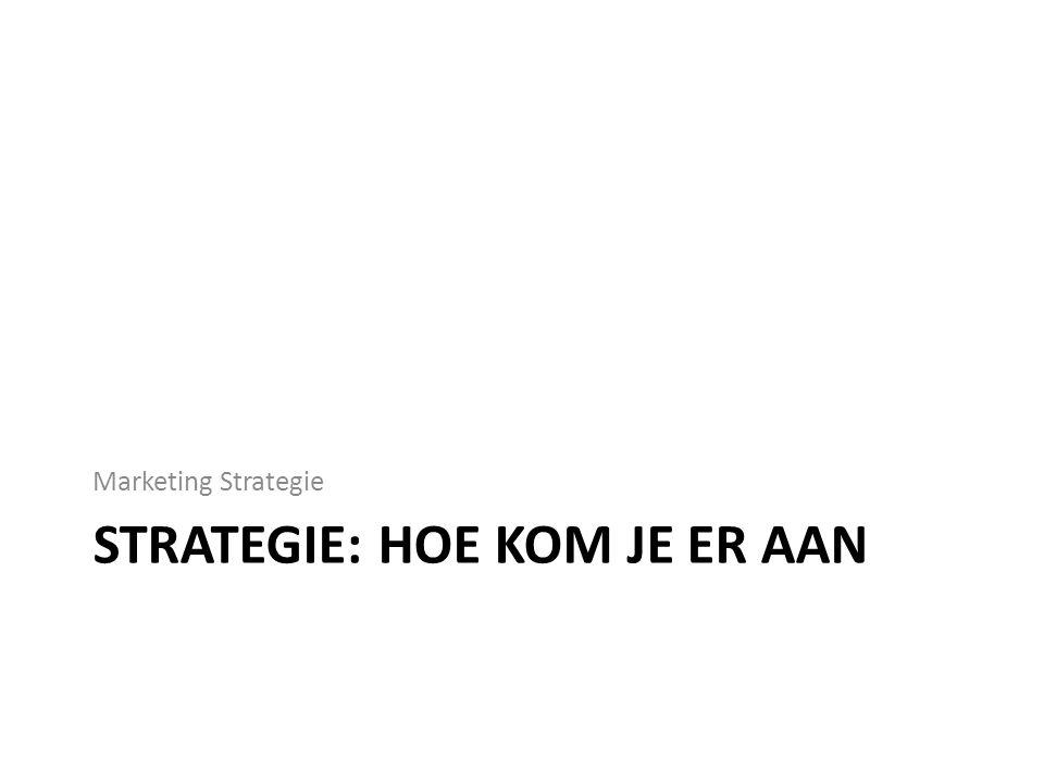 STRATEGIE: HOE KOM JE ER AAN Marketing Strategie