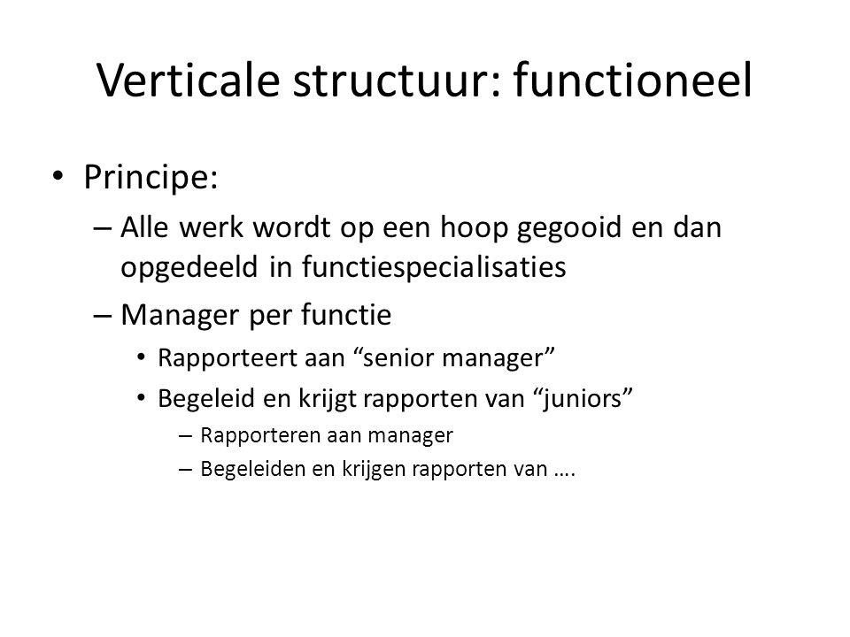 Verticale structuur: functioneel • Principe: – Alle werk wordt op een hoop gegooid en dan opgedeeld in functiespecialisaties – Manager per functie • R