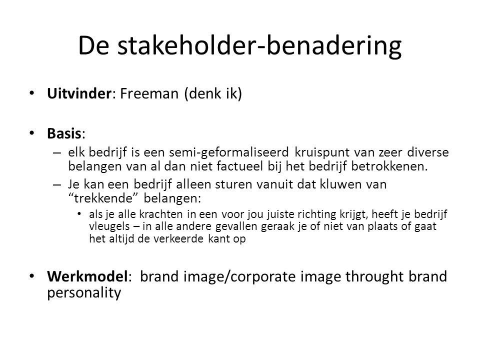 De stakeholder-benadering • Uitvinder: Freeman (denk ik) • Basis: – elk bedrijf is een semi-geformaliseerd kruispunt van zeer diverse belangen van al