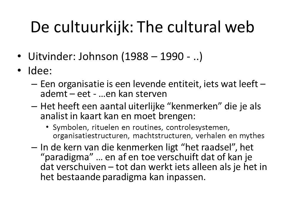 De cultuurkijk: The cultural web • Uitvinder: Johnson (1988 – 1990 -..) • Idee: – Een organisatie is een levende entiteit, iets wat leeft – ademt – ee