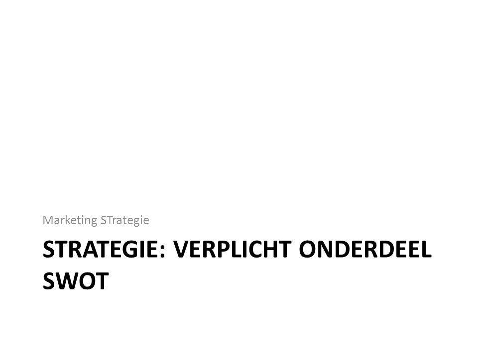 STRATEGIE: VERPLICHT ONDERDEEL SWOT Marketing STrategie