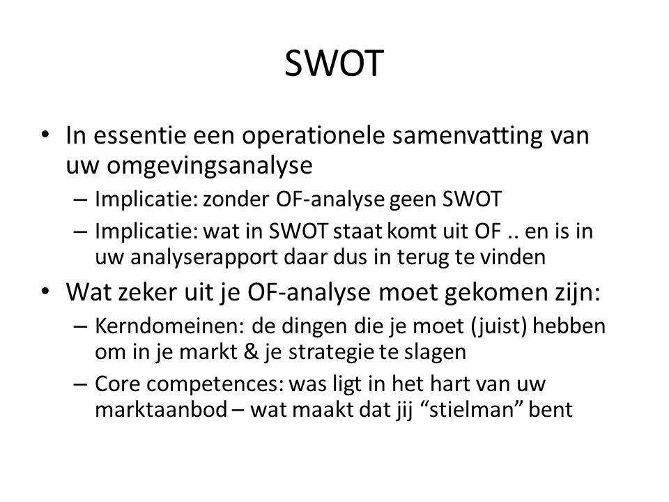 SWOT • In essentie een operationele samenvatting van uw omgevingsanalyse – Implicatie: zonder OF-analyse geen SWOT – Implicatie: wat in SWOT staat kom