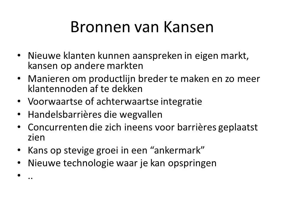 Bronnen van Kansen • Nieuwe klanten kunnen aanspreken in eigen markt, kansen op andere markten • Manieren om productlijn breder te maken en zo meer kl
