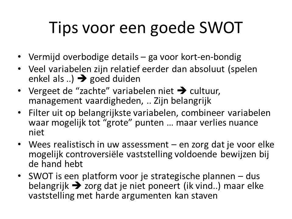 Tips voor een goede SWOT • Vermijd overbodige details – ga voor kort-en-bondig • Veel variabelen zijn relatief eerder dan absoluut (spelen enkel als..