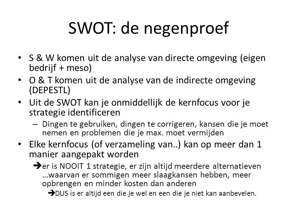 SWOT: de negenproef • S & W komen uit de analyse van directe omgeving (eigen bedrijf + meso) • O & T komen uit de analyse van de indirecte omgeving (D