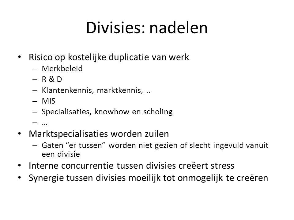 Divisies: nadelen • Risico op kostelijke duplicatie van werk – Merkbeleid – R & D – Klantenkennis, marktkennis,.. – MIS – Specialisaties, knowhow en s