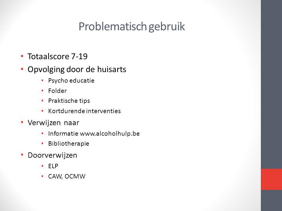 Problematisch gebruik • Totaalscore 7-19 • Opvolging door de huisarts • Psycho educatie • Folder • Praktische tips • Kortdurende interventies • Verwij