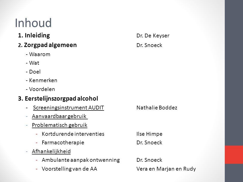 Inhoud 1. Inleiding Dr. De Keyser 2. Zorgpad algemeen Dr. Snoeck - Waarom - Wat - Doel - Kenmerken - Voordelen 3. Eerstelijnszorgpad alcohol - Screeni