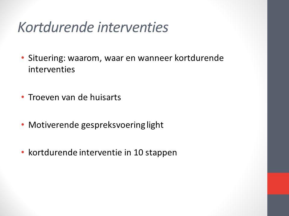 Kortdurende interventies • Situering: waarom, waar en wanneer kortdurende interventies • Troeven van de huisarts • Motiverende gespreksvoering light •